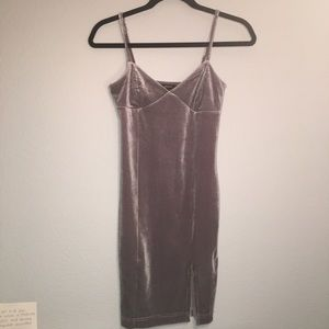 one of a kind grey velvet hoco/party dress
